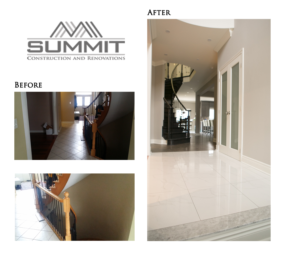 """Entrance & stairway makeover, sanding stairs, matching stair colour with new floor, installing new 24""""X24"""" tiles at the entrance"""