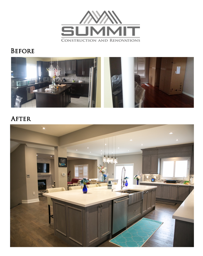 Kitchen extension & upgrade after having removed supporting wall, installing LVLs, 12' custom kitchen island