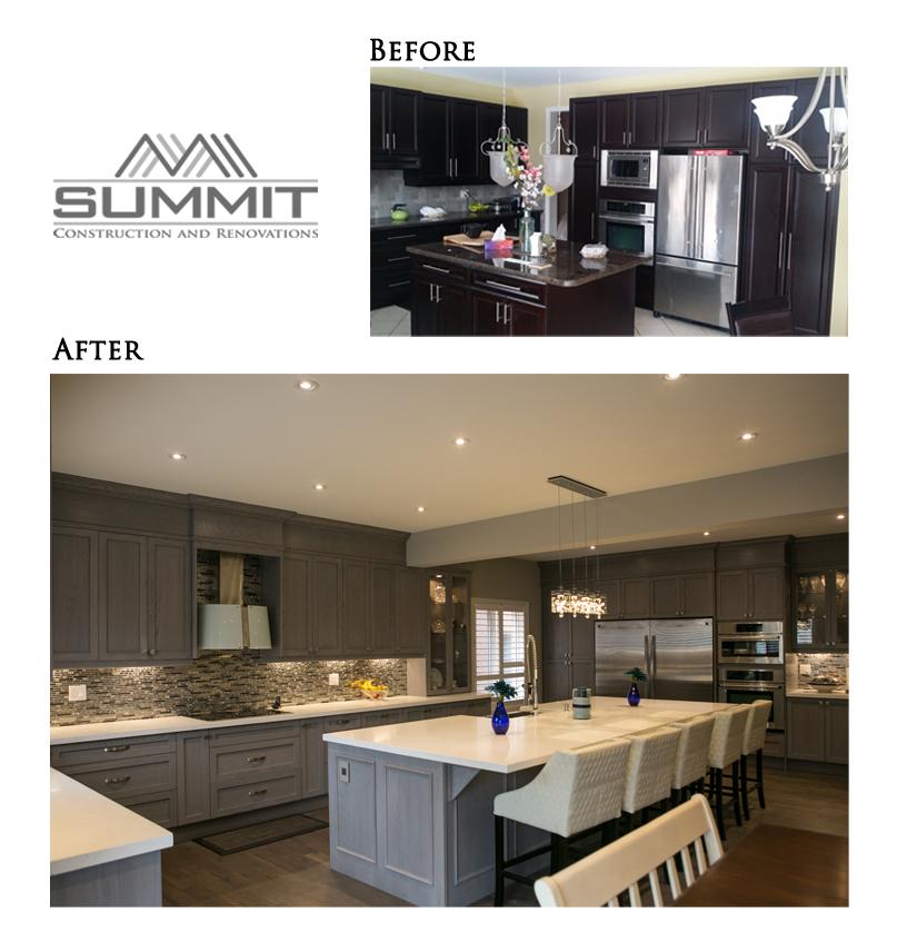 Installing new custom made kitchen, cabinets of solid wood, 12' custom kitchen island