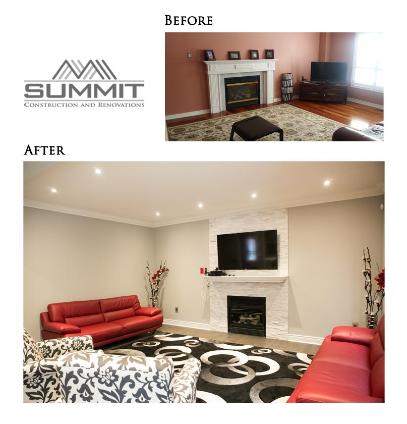 Family room makeover, sanding popcorn ceiling, installing pot lights, installing fireplace bricks, new handscraped hardwood floors, painting & crown moulding