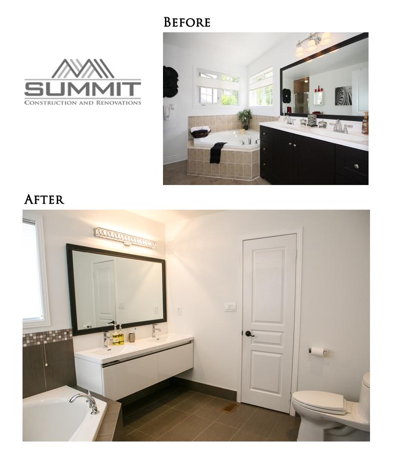 "Master en suite make over, installing new 12""X24"" tiles, new double sink vanity, installing mosaic tiles around tub & shower, new lighting, installing potlights"