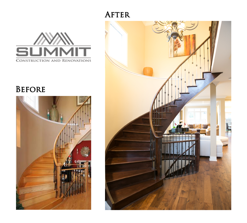 Stairway makeover, sanding stairs, matching stair colour with kitchen cabinets & solid wood door