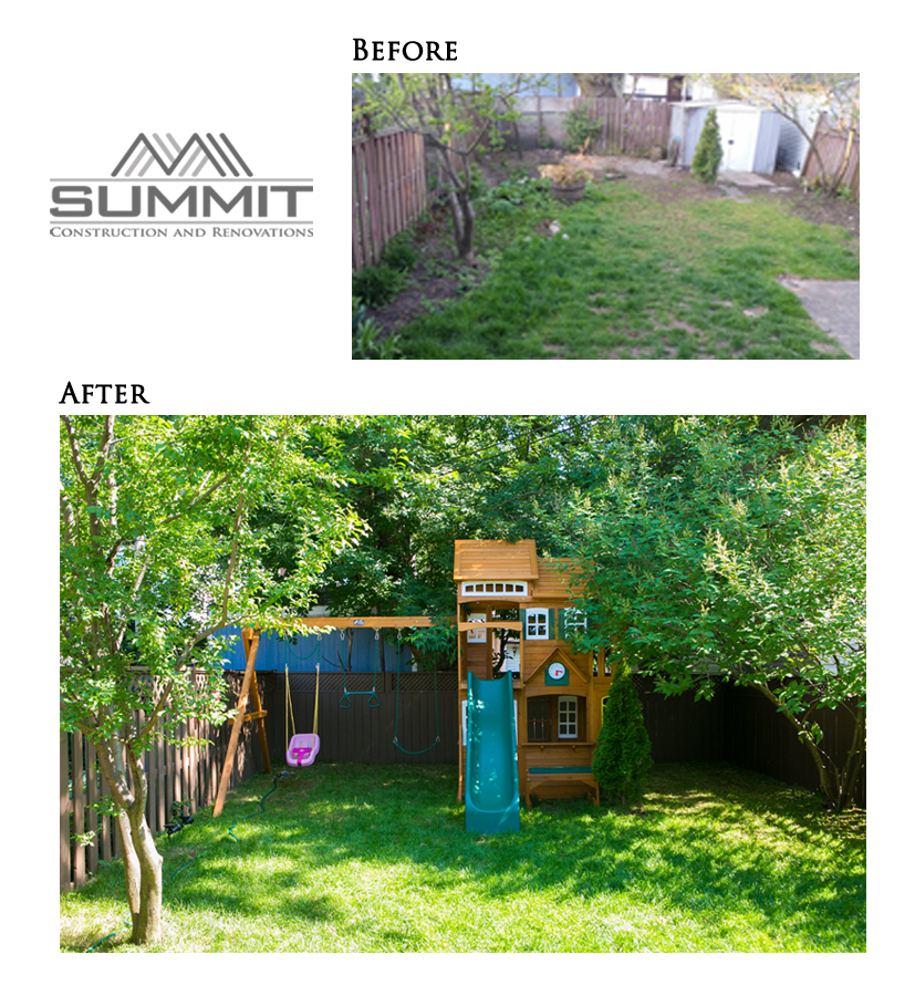 Backyard makeover, installing new fence and grass, new layout