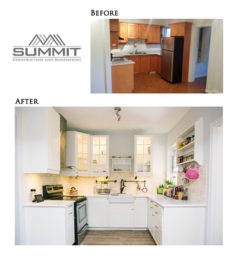 Kitchen makeover, brand new floors, backsplash, countertop and cabinets