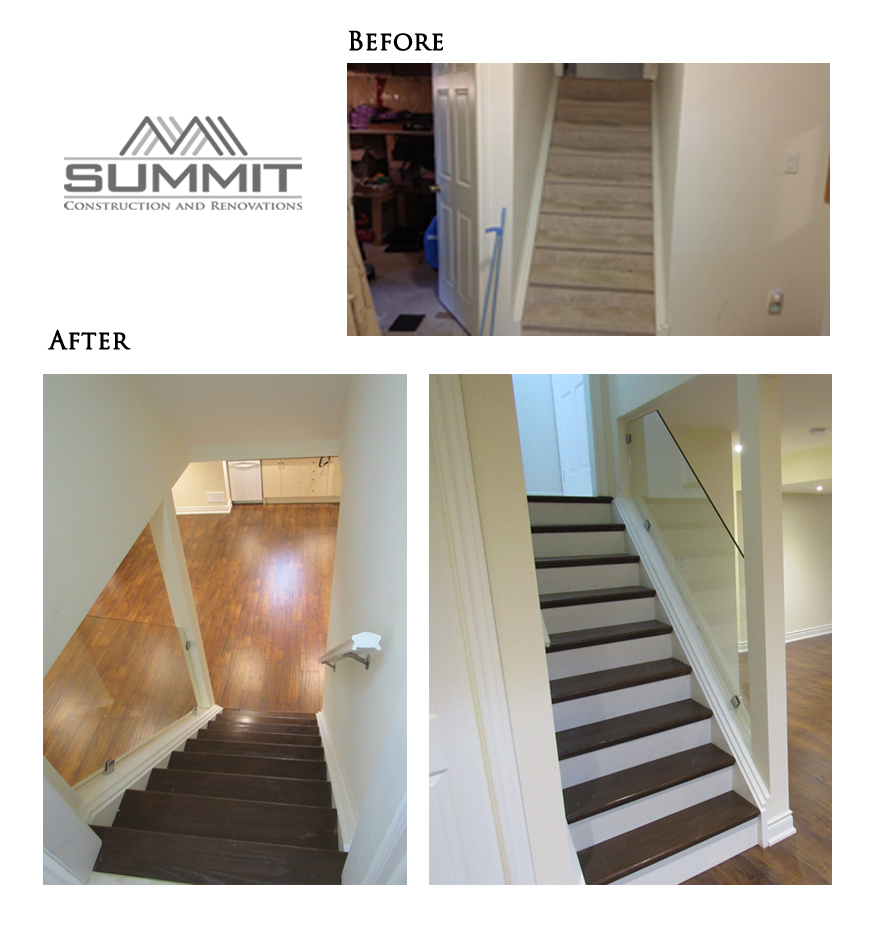 Basement stairs finishing with glass banister