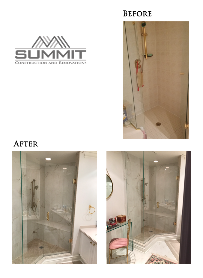 Bathroom makeover, new shower, new tiling