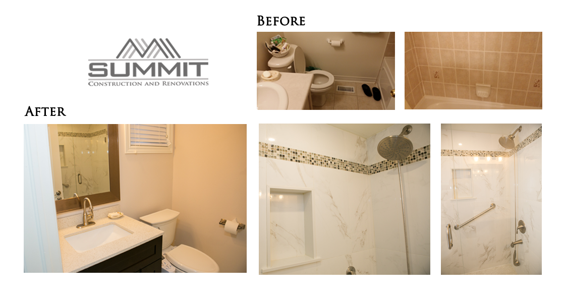 Bathroom makeover, new shower, new tiling, new faucets