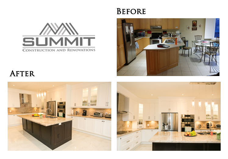 Complete kitchen makeover and redesign, opening up walls to enlarge kitchen, new cabinets, 10-foot island, granite countertops