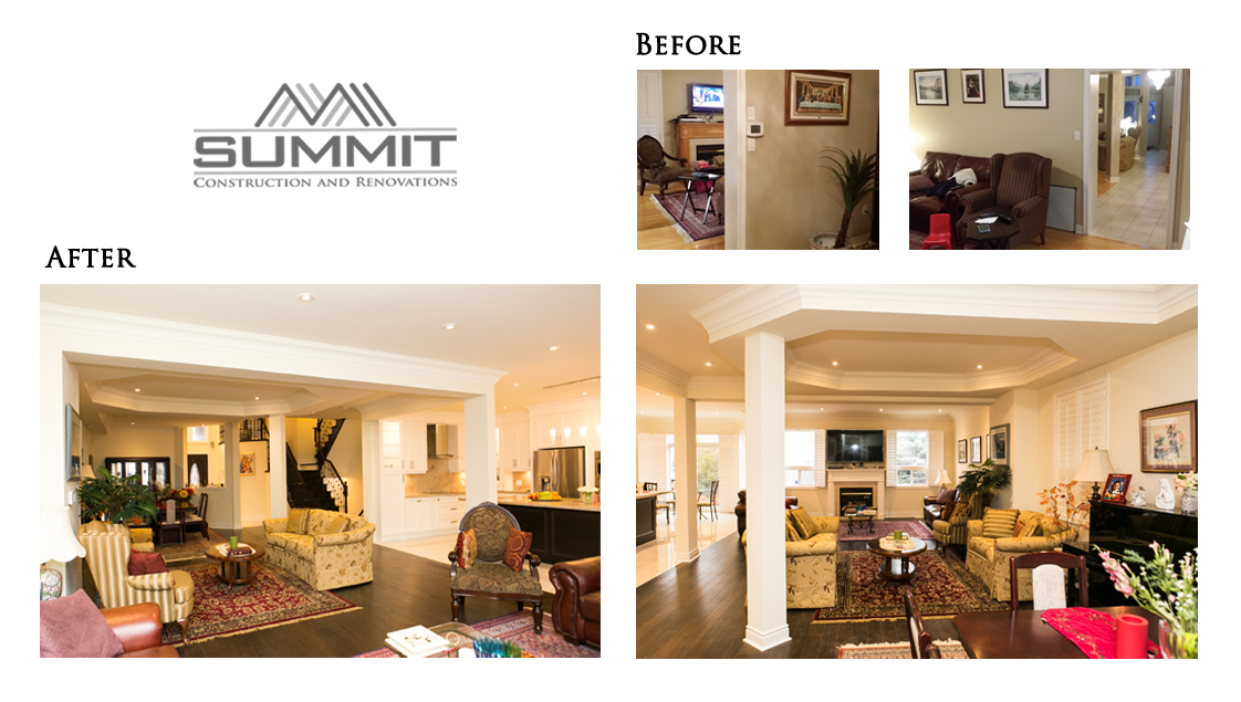 Main floor makeover and redesign, opening up walls, installing LVLs, decorative ceiling and crown mouldings, installing new hardwood floors, new kitchen