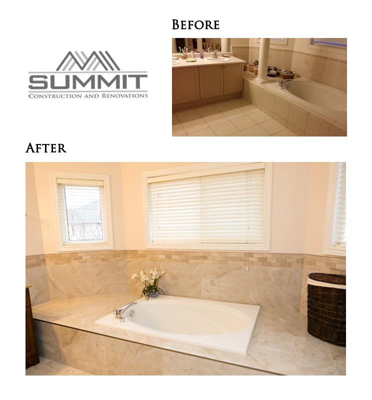 Master ensuite makeover, new tiling and faucets, decorative mosaic