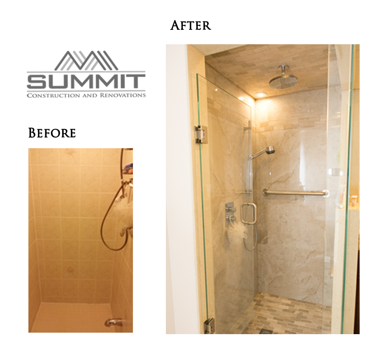 Shower makeover, new tiling and faucets, new glass door