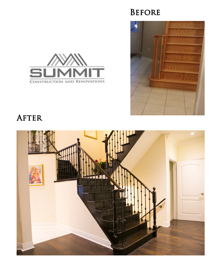 Stairway makeover, sanding stairs, matching stair colour with new floor