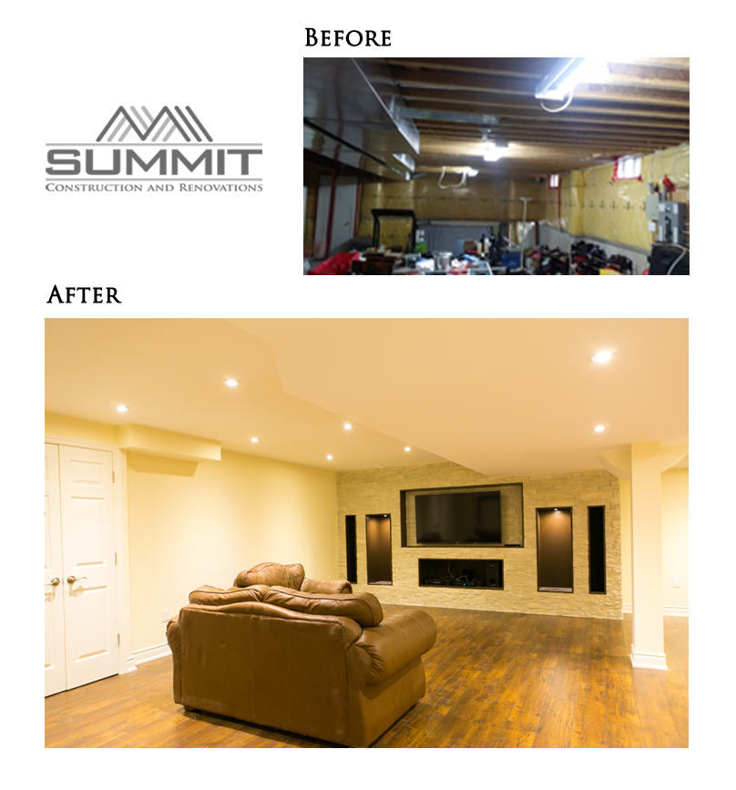 Basement finishing, ceiling closure, pot lights, built-in home theatre, laminate floors installation, painting ceiling and walls
