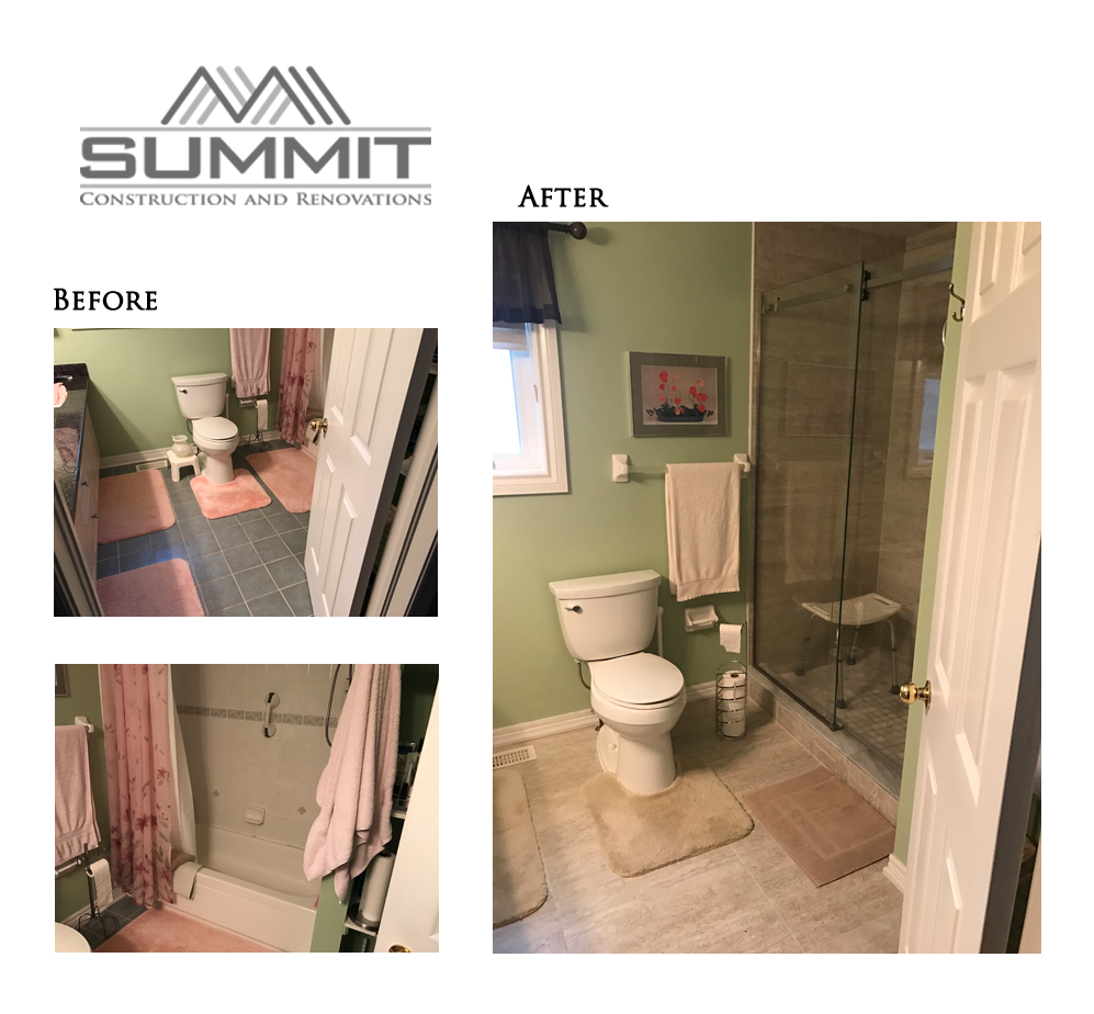 Complete bathroom renovation and replacement of tub by new shower with glass door and new tiles