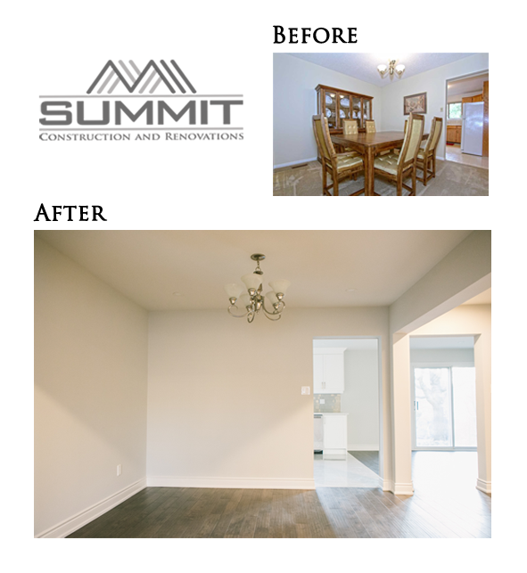 Complete dining room makeover, new flooring, painting, space redesign