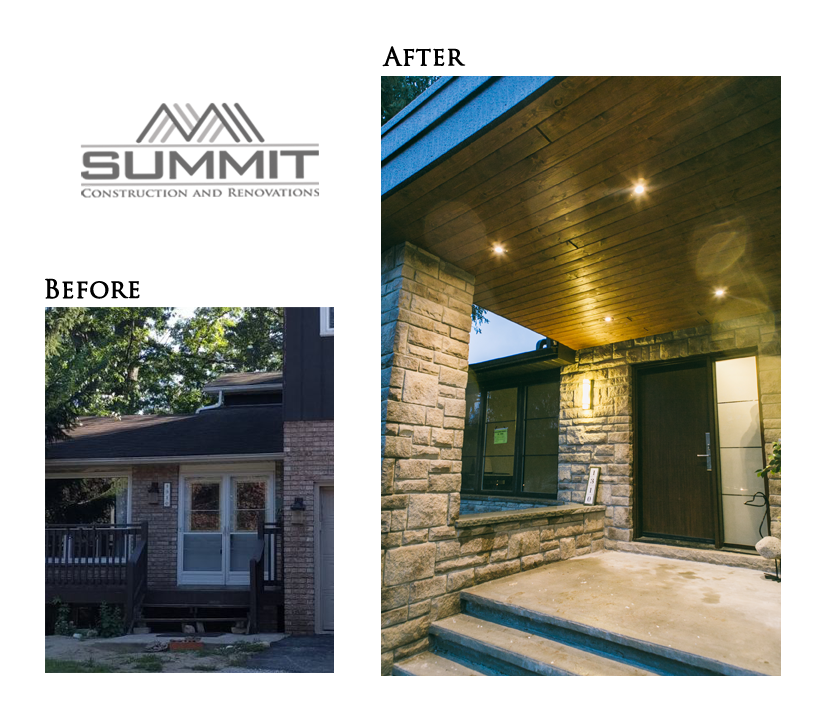 Complete exterior makeover, creating new concrete porch, decorative wood ceiling, bricks and stucco finishing, installing exterior pot lights